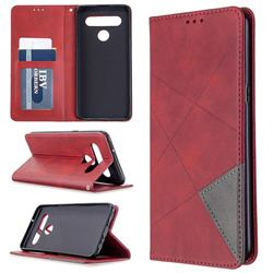 Prismatic Slim Magnetic Sucking Stitching Wallet Flip Cover for LG K61 - Red