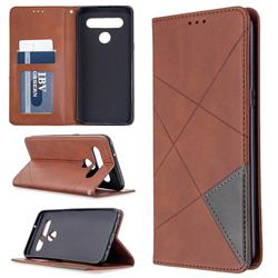 Prismatic Slim Magnetic Sucking Stitching Wallet Flip Cover for LG K61 - Brown
