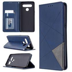 Prismatic Slim Magnetic Sucking Stitching Wallet Flip Cover for LG K61 - Blue