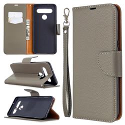 Classic Luxury Litchi Leather Phone Wallet Case for LG K61 - Gray
