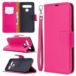 Classic Luxury Litchi Leather Phone Wallet Case for LG K61 - Rose