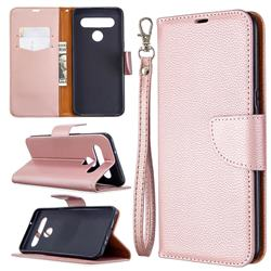 Classic Luxury Litchi Leather Phone Wallet Case for LG K61 - Golden