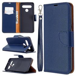 Classic Luxury Litchi Leather Phone Wallet Case for LG K61 - Blue