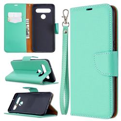 Classic Luxury Litchi Leather Phone Wallet Case for LG K61 - Green