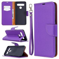Classic Luxury Litchi Leather Phone Wallet Case for LG K61 - Purple