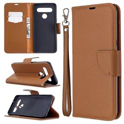 Classic Luxury Litchi Leather Phone Wallet Case for LG K61 - Brown