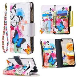 Vivid Flying Butterflies Binfen Color BF03 Retro Zipper Leather Wallet Phone Case for LG K61
