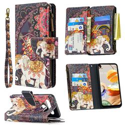 Totem Flower Elephant Binfen Color BF03 Retro Zipper Leather Wallet Phone Case for LG K61