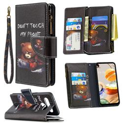 Chainsaw Bear Binfen Color BF03 Retro Zipper Leather Wallet Phone Case for LG K61