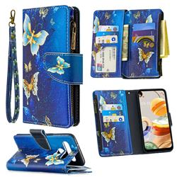 Golden Butterflies Binfen Color BF03 Retro Zipper Leather Wallet Phone Case for LG K61