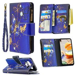 Purple Butterfly Binfen Color BF03 Retro Zipper Leather Wallet Phone Case for LG K61