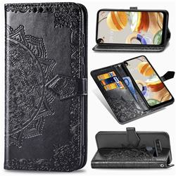 Embossing Imprint Mandala Flower Leather Wallet Case for LG K61 - Black