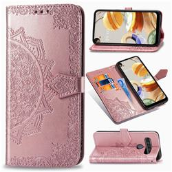 Embossing Imprint Mandala Flower Leather Wallet Case for LG K61 - Rose Gold