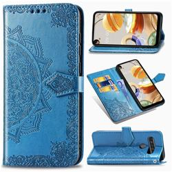 Embossing Imprint Mandala Flower Leather Wallet Case for LG K61 - Blue