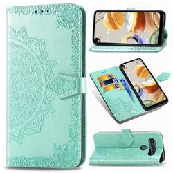 Embossing Imprint Mandala Flower Leather Wallet Case for LG K61 - Green