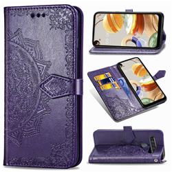Embossing Imprint Mandala Flower Leather Wallet Case for LG K61 - Purple
