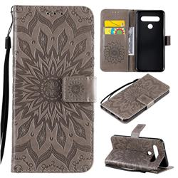 Embossing Sunflower Leather Wallet Case for LG K61 - Gray