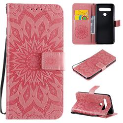 Embossing Sunflower Leather Wallet Case for LG K61 - Pink
