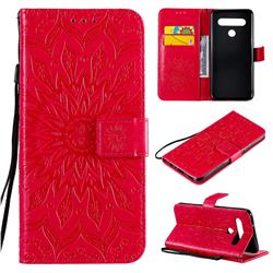 Embossing Sunflower Leather Wallet Case for LG K61 - Red