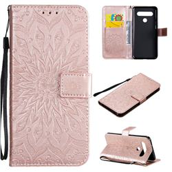 Embossing Sunflower Leather Wallet Case for LG K61 - Rose Gold