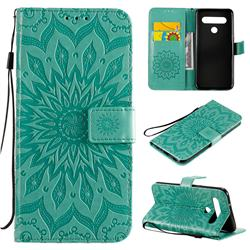 Embossing Sunflower Leather Wallet Case for LG K61 - Green