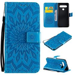 Embossing Sunflower Leather Wallet Case for LG K61 - Blue