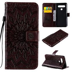 Embossing Sunflower Leather Wallet Case for LG K61 - Brown