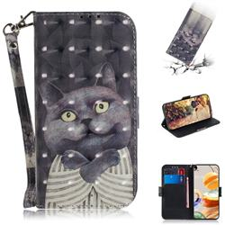 Cat Embrace 3D Painted Leather Wallet Phone Case for LG K61