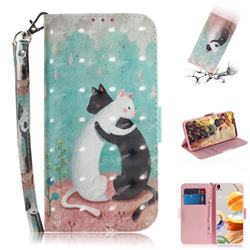 Black and White Cat 3D Painted Leather Wallet Phone Case for LG K61