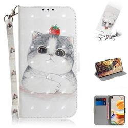 Cute Tomato Cat 3D Painted Leather Wallet Phone Case for LG K61