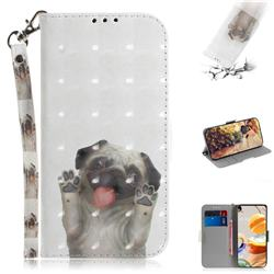 Pug Dog 3D Painted Leather Wallet Phone Case for LG K61