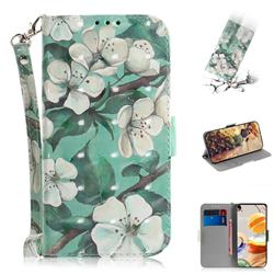 Watercolor Flower 3D Painted Leather Wallet Phone Case for LG K61