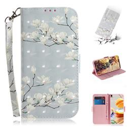 Magnolia Flower 3D Painted Leather Wallet Phone Case for LG K61