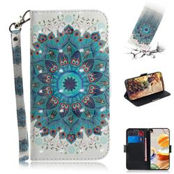 Peacock Mandala 3D Painted Leather Wallet Phone Case for LG K61
