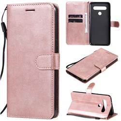 Retro Greek Classic Smooth PU Leather Wallet Phone Case for LG K61 - Rose Gold