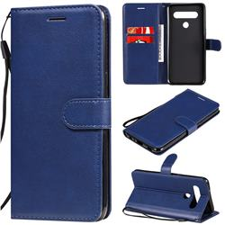 Retro Greek Classic Smooth PU Leather Wallet Phone Case for LG K61 - Blue