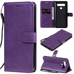 Retro Greek Classic Smooth PU Leather Wallet Phone Case for LG K61 - Purple