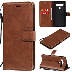 Retro Greek Classic Smooth PU Leather Wallet Phone Case for LG K61 - Brown