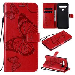 Embossing 3D Butterfly Leather Wallet Case for LG K61 - Red