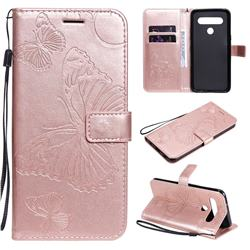 Embossing 3D Butterfly Leather Wallet Case for LG K61 - Rose Gold