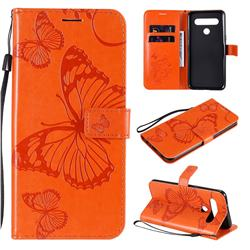 Embossing 3D Butterfly Leather Wallet Case for LG K61 - Orange