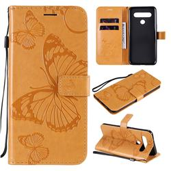 Embossing 3D Butterfly Leather Wallet Case for LG K61 - Yellow