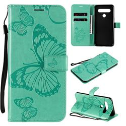Embossing 3D Butterfly Leather Wallet Case for LG K61 - Green