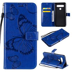 Embossing 3D Butterfly Leather Wallet Case for LG K61 - Blue