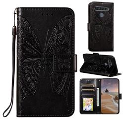 Intricate Embossing Vivid Butterfly Leather Wallet Case for LG K61 - Black