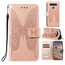 Intricate Embossing Vivid Butterfly Leather Wallet Case for LG K61 - Rose Gold