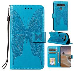Intricate Embossing Vivid Butterfly Leather Wallet Case for LG K61 - Blue