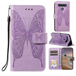 Intricate Embossing Vivid Butterfly Leather Wallet Case for LG K61 - Purple