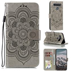 Intricate Embossing Datura Solar Leather Wallet Case for LG K61 - Gray