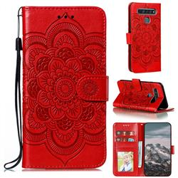 Intricate Embossing Datura Solar Leather Wallet Case for LG K61 - Red